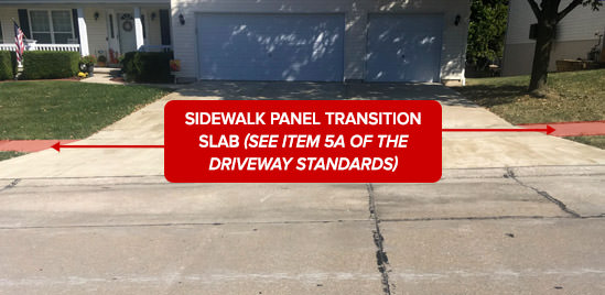Sidewalk panel trasition slab (see item 5A of the Driveway Standards