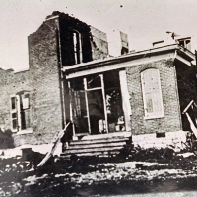 Heald home after tornado destruction of 1915.