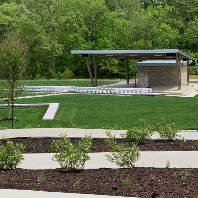 Neatly landscaped view of O'Day Park Amphitheater