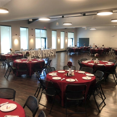There is plenty of space for a dancefloor at a typical Krekel Civic Center wedding setup.