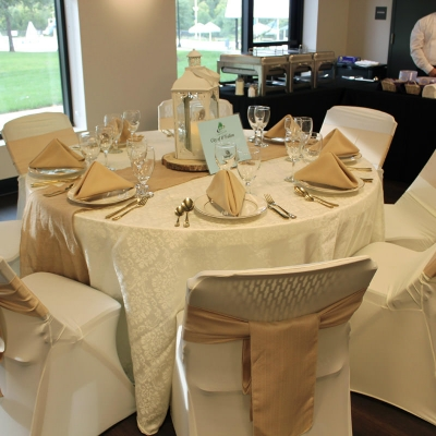A staged table setting at Krekel Civic Center